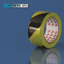 Markeringstape pvc 50mm geel/zwart (33mtr)  (1  rol)