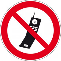 Sticker- GSM toestellen verboden, 100 mm