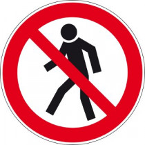 Sticker- Verboden voor voetgangers, 200 mm